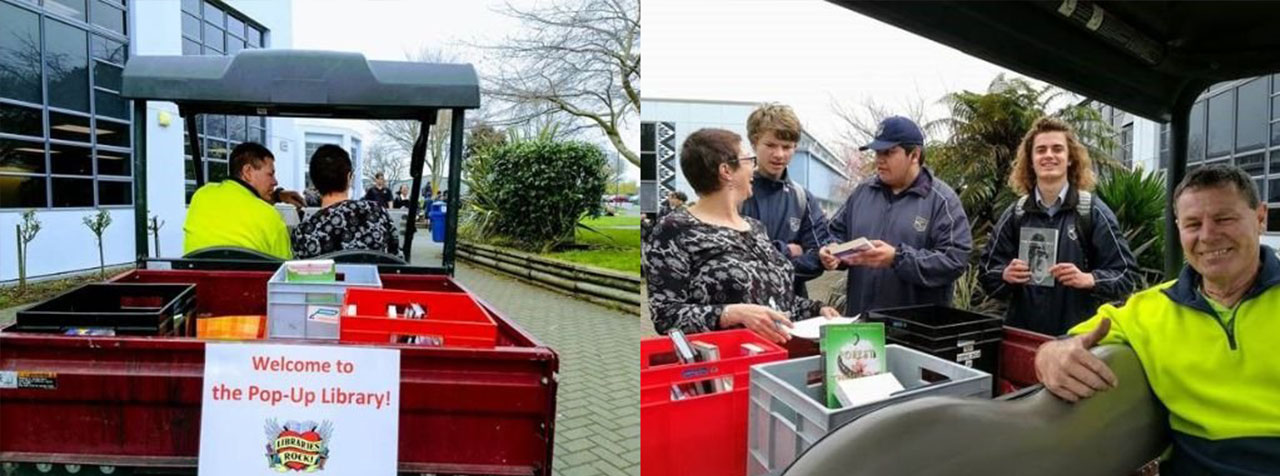 Using a small truck, two teachers create a Pop-up Library and engage a new student audience in the school grounds