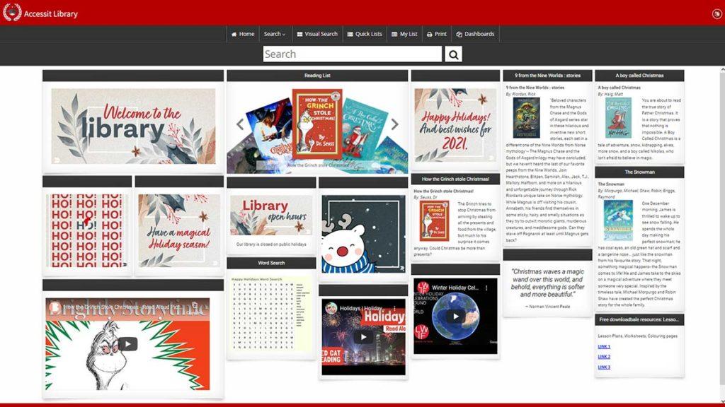 Happy holidays school library software Web App