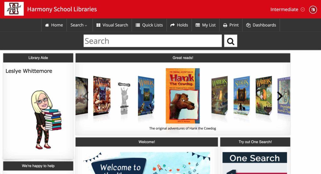 Harmony ISD school library catalog