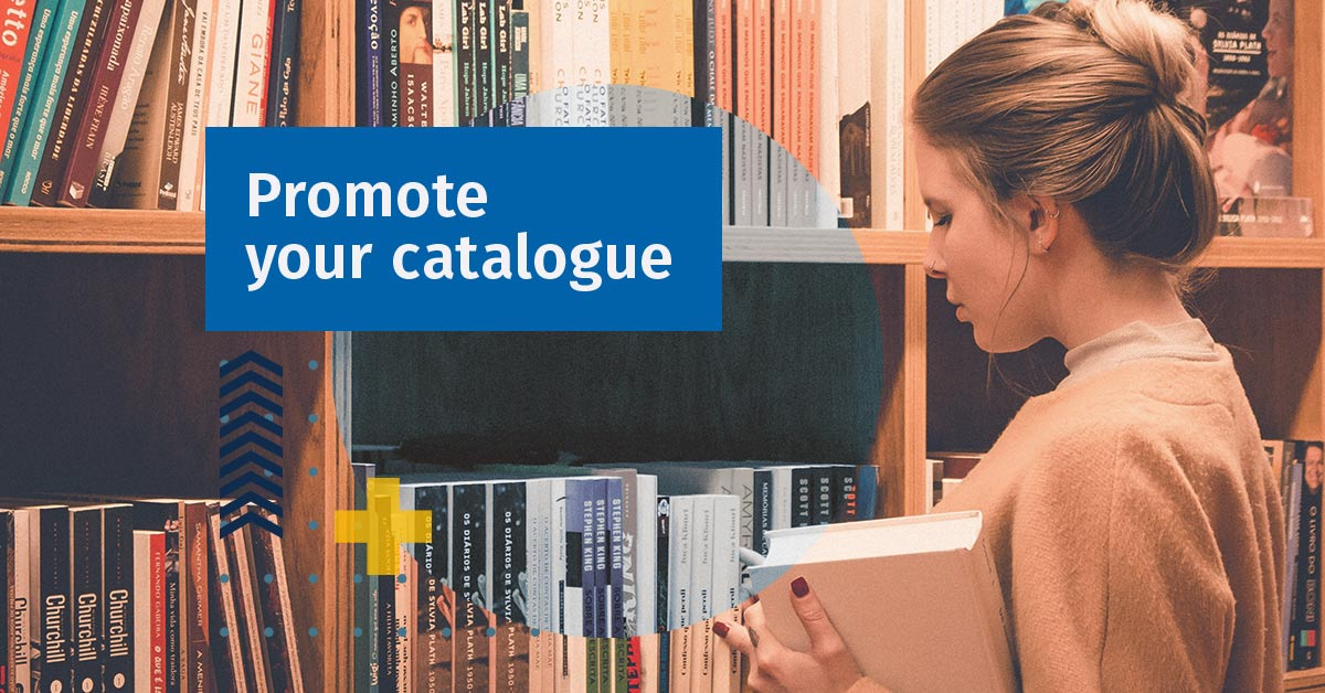 Woman looking for books to promote your catalogue in a school library management system