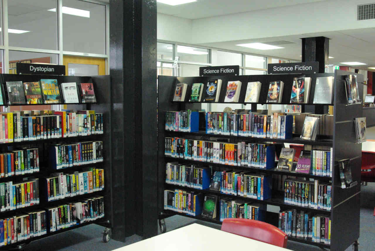genrefied dystopian and science fiction sections in a school library