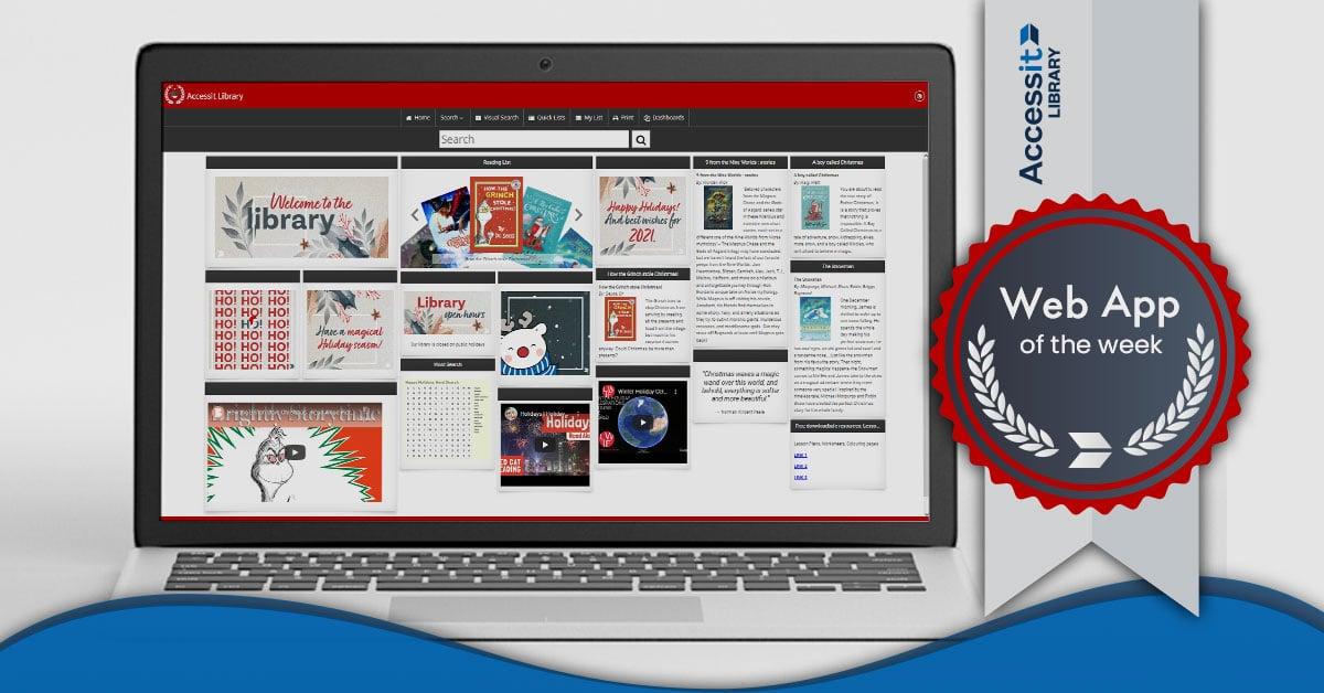 Happy holidays school library software dashboard