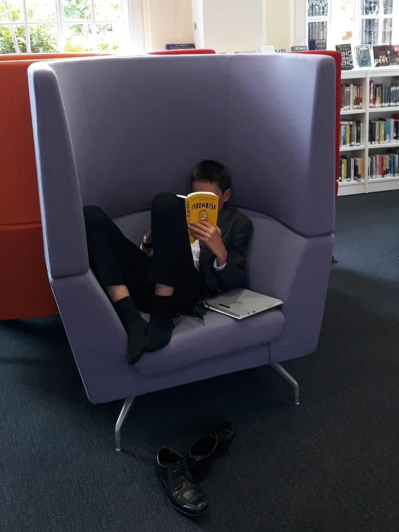 Student sitting reading